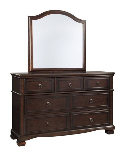 Brulind Casual Brown Wood Glass Dresser And Mirror B554-DRMR