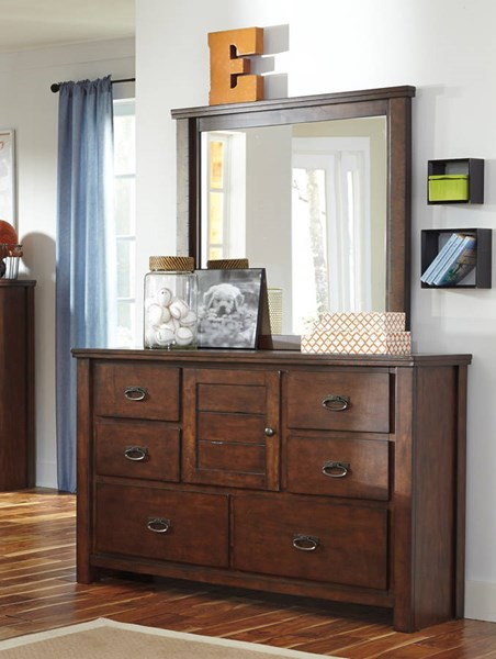 Ladiville Vintage Casual Rustic Brown Wood Dresser And Mirror B567-21-26