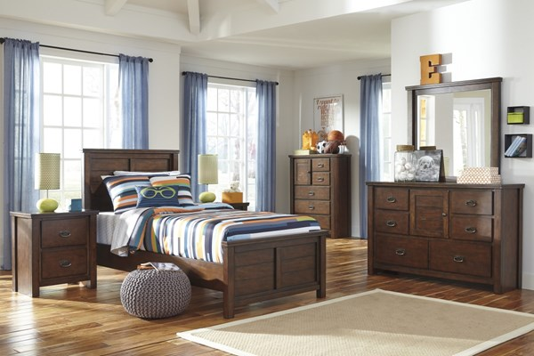 Ladiville Vintage Casual Rustic Brown Wood 2pc Bedroom Set W/Twin Bed B567-BR-S2