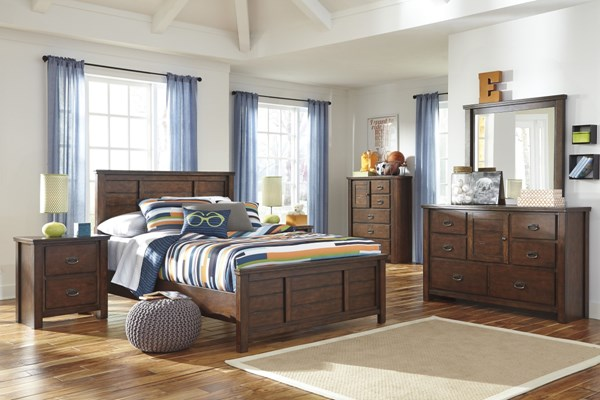 Ladiville Vintage Casual Rustic Brown Wood 2pc Bedroom Sets B567-BR-S