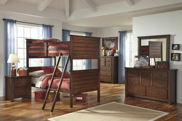 Ladiville Vintage Brown Wood 2pc Bedroom Set W/Twin/Twin Bunk Bed B567-BR-S4