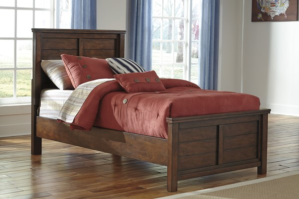 Ladiville Vintage Casual Brown Wood Twin Panel Bed B567-53-83-TBED