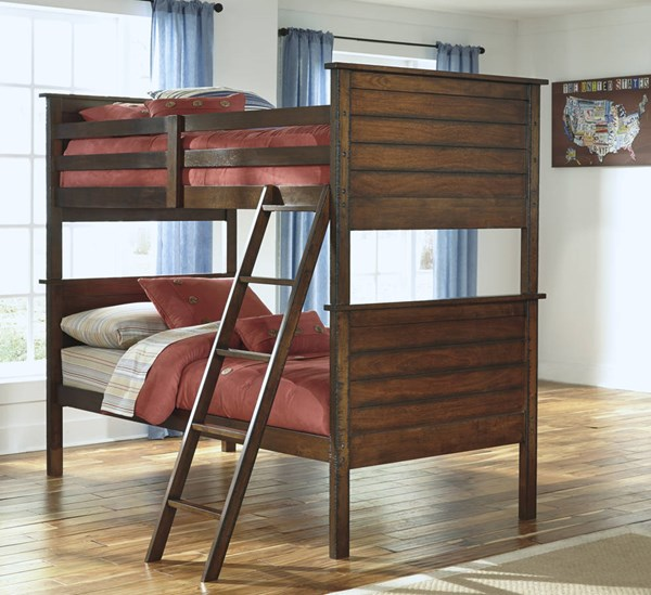 Ladiville Vintage Casual Rustic Brown Wood Twin/Twin Bunk Bed B567-BBED