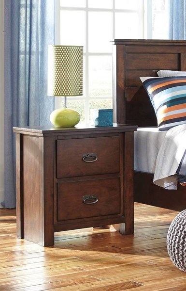 Ladiville Vintage Casual Rustic Brown Wood Two Drawer Night Stand B567-92