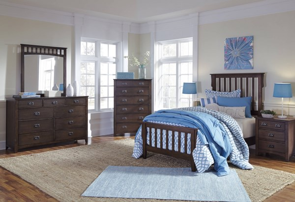 Strenton Vintage Casual Brown Wood Glass 2pc Bedroom Sets W/Panel Bed B568-BR-S
