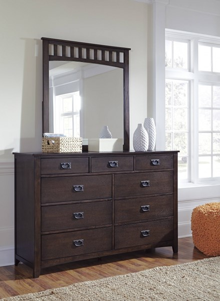 Strenton Vintage Casual Brown Wood Glass Dresser And Mirror B568-DRMR