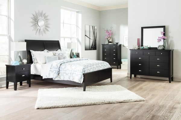 Braflin Contemporary Black Wood 2pc Bedroom Set W/Queen Panel Bed B591-QUPNL-BR-S1