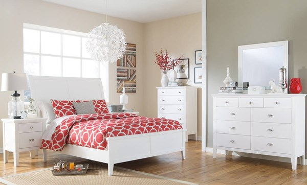Langlor Contemporary White Wood 2pc Bedroom Set W/Queen Panel Bed B592-QUPNL-BR-S1