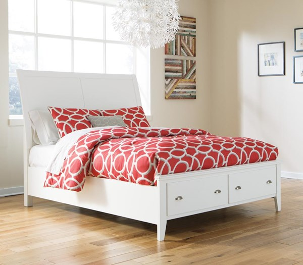 Langlor Contemporary White King Storage Panel Bed B592-KSRFTBD-BED