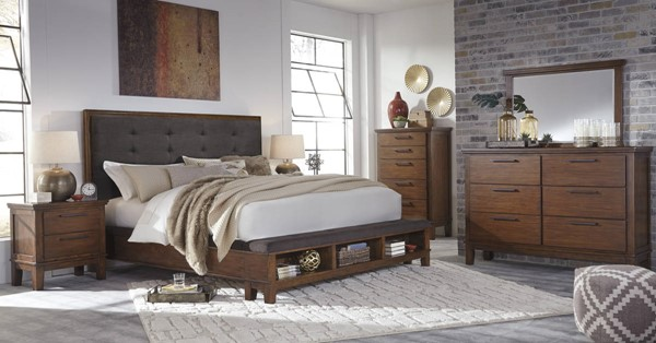 Ralene Contemporary Medium Brown Solid Wood Fabric Master Bedroom Set B594-BR