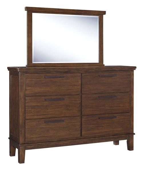 Ralene Contemporary Medium Brown Solid Wood Glass Bedroom Mirror B594-36
