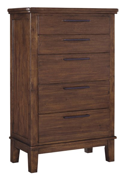 Ralene Contemporary Medium Brown Solid Wood Five Drawer Chest B594-46