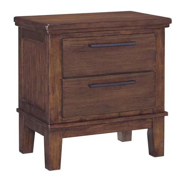 Ralene Contemporary Medium Brown Solid Wood Two Drawer Night Stand B594-92
