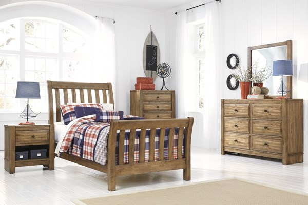 Birnalla Contemporary Light Brown Wood Kids Bedroom Sets B595-KBR-S