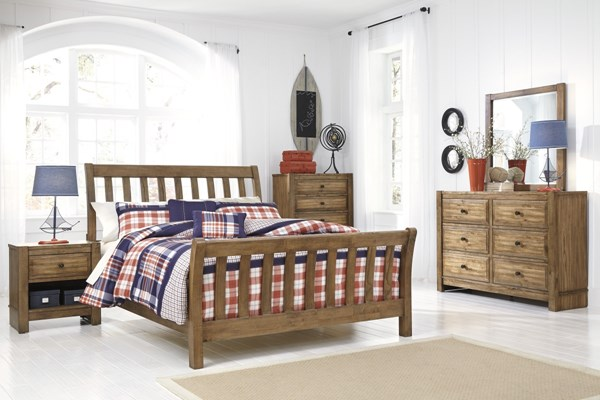 birnalla contemporary light brown wood 4pc bedroom set w full bed the classy home. Black Bedroom Furniture Sets. Home Design Ideas