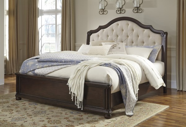 Moluxy Dark Brown Wood King/Cal King Upholstered Sleigh Headboard B596-58
