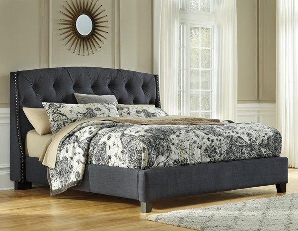 Kasidon Contemporary Dark Grey Upholstered Beds B600-4-BEDS