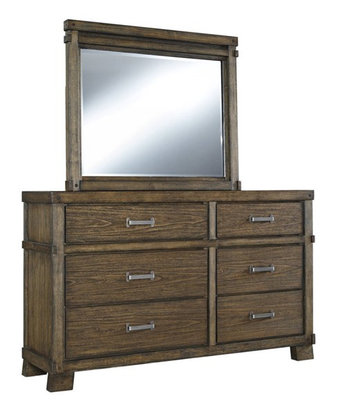 Leystone Contemporary Dark Brown Solid Wood Glass Dresser And Mirror B614-DRMR