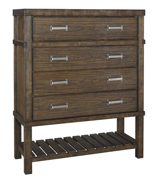 Leystone Contemporary Dark Brown Solid Wood Four Drawer Chest B614-46