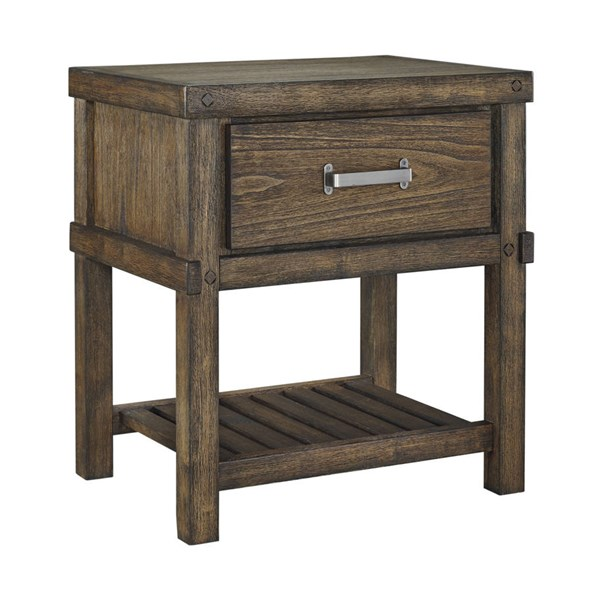 Leystone Contemporary Dark Brown Solid Wood One Drawer Night Stand B614-91