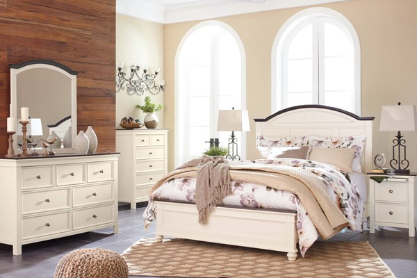 Woodanville Casual White Brown Solid Hardwood Master Bedroom Set B623-BR