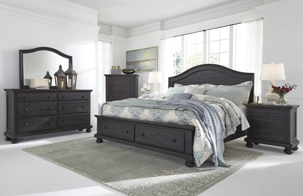 Sharlowe Charcoal Wood Glass 2pc Bedroom Sets W/Storage Panel Bed B635-BR-S-VAR1