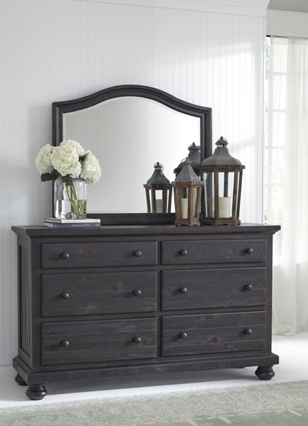 Sharlowe Casual Charcoal Glass Wood Dresser And Mirror B635-DRMR
