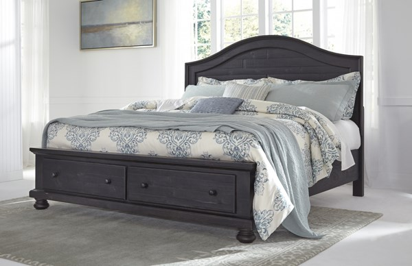 Sharlowe Casual Charcoal Wood Queen Storge Panel Bed B635-QSRFTBD-BED