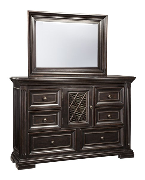 Willenburg Casual Dark Brown Solid Wood Glass Dresser And Mirror B643-DRMR