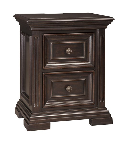 Willenburg Casual Dark Brown Solid Wood Two Drawer Night Stand B643-92