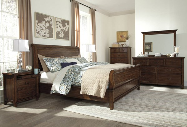 Chaddinfield Casual Brown Wood 2pc Bedroom Set W/Queen Sleigh Bed B648-BR-QSB-S1