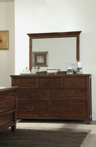 Chaddinfield Casual Brown Glass Wood Dresser And Mirror B648-DRMR