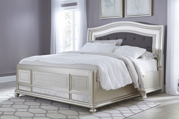 Coralayne Old World Silver Wood Fabric King Panel Bed B650-KP-BED