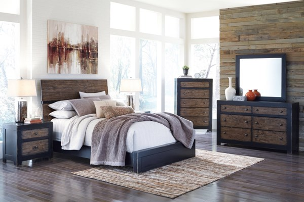 Emerfield Two Tone Rustic Brown 5pc Bedroom Set W/Panel Bed B953-BR-S