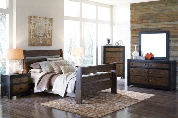 Emerfield Two Tone Rustic Brown 5pc Bedroom Set W/Queen Sleigh Bed B653-BR-QSB-S1