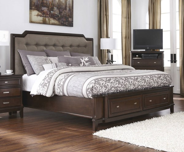 Larimer Contemporary Dark Brown Wood Fabric Queen Storage Bed B654-QB