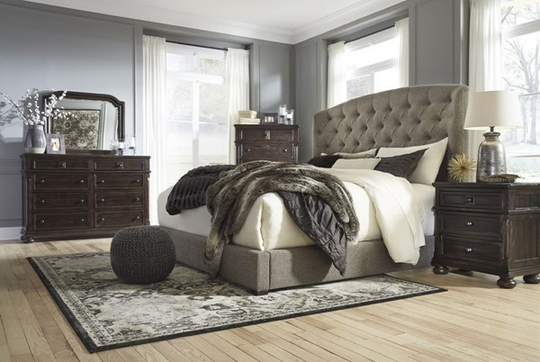 Gerlane Casual Brown Graphite Wood Fabric 2pc Bedroom Set W/Queen Bed B657-BR-S3