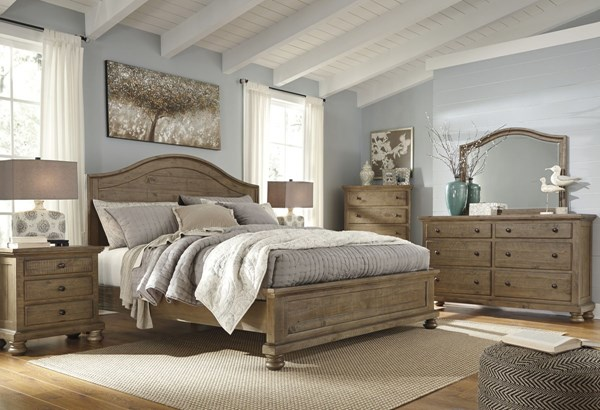 Trishley Casual Light Brown Wood 2pc Bedroom Set W/King Panel Bed B659-BR-S2