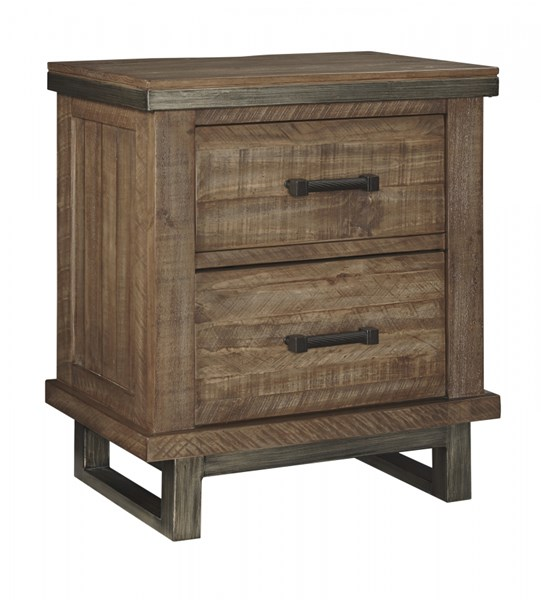 Dondie Urban Warm Brown Wood Two Drawer Night Stand B663-92