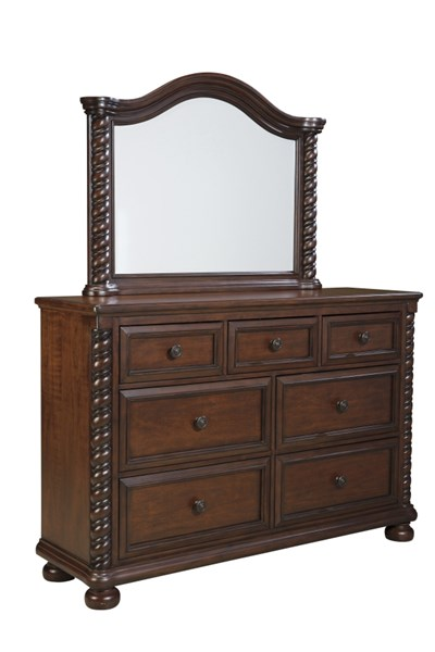 Brennville Brown Cherry Wood Dresser And Mirror The Classy Home