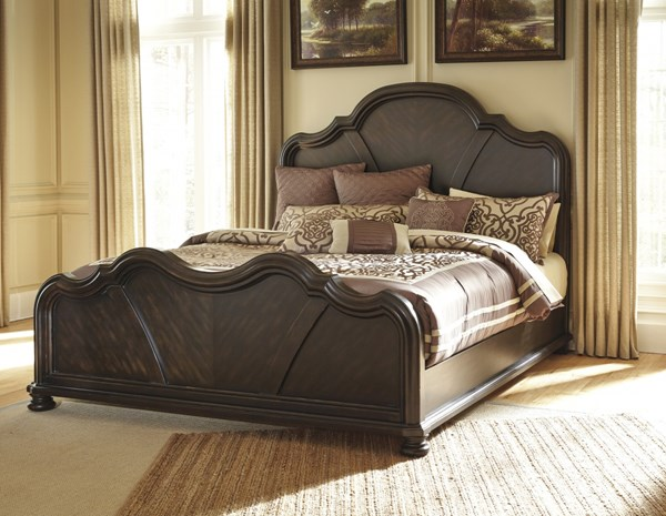 Shardinelle Traditional Black Wood Queen Panel Bed B674-57-QB