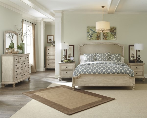 Demarlos Casual Parchment White Wood 2pc Bedroom Sets B693-77-VER-1