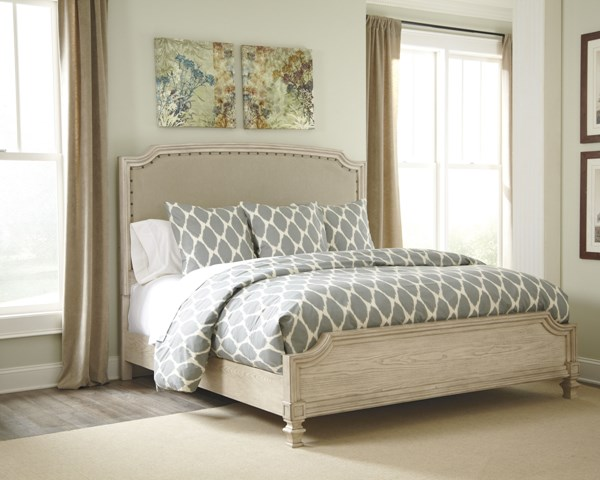 Demarlos Casual Parchment White Wood Beds B693-77-VER