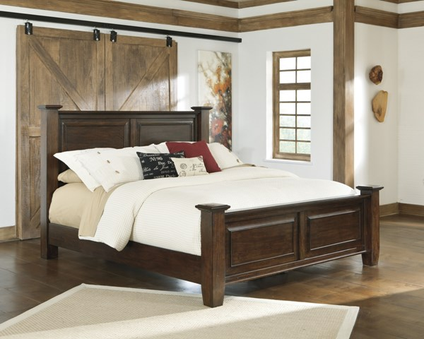 Hindell Park Casual Dark Brown Wood Beds B695-BEDS