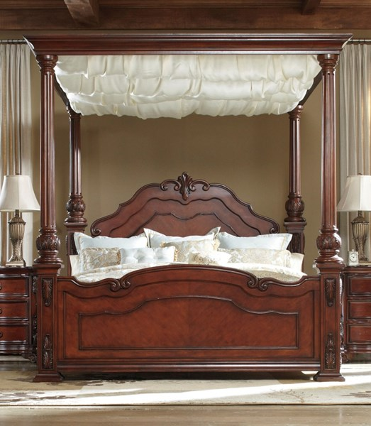 Martanny Warm Brown Wood Queen Poster Canopy Bed The