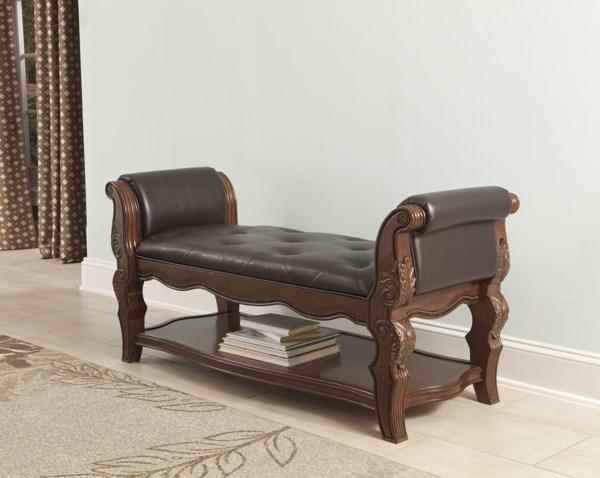 Ledelle Traditional Brown Wood Upholstered Bench B705-09