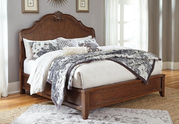 Balinder Vintage Casual Medium Brown Wood Panel Beds B708-BEDS
