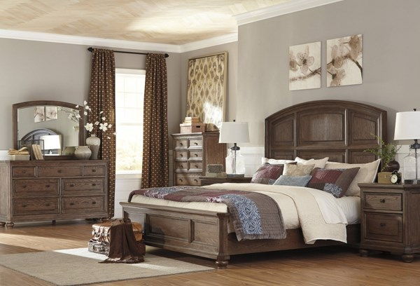Maeleen Traditional Medium Brown Wood 2pc Bedroom Set W/King Panel Bed B709-BR-S6