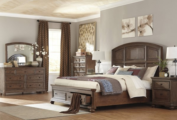 Maeleen Traditional Brown 5pc Bedroom Set W/King Storage Panel Bed B709-BR-S2