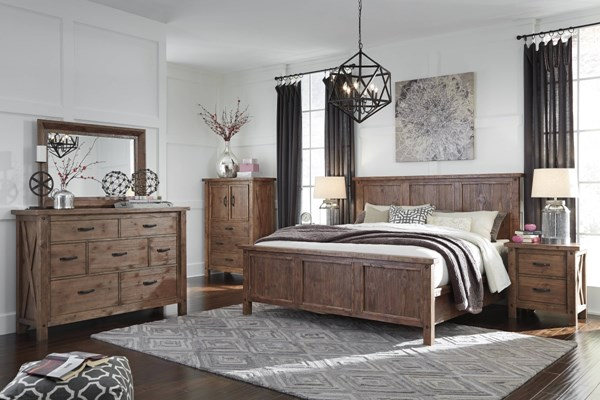 Tamilo Vintage Casual Gray Brown Wood 2pc Bedroom Set W/King Panel Bed B714-BR-S2